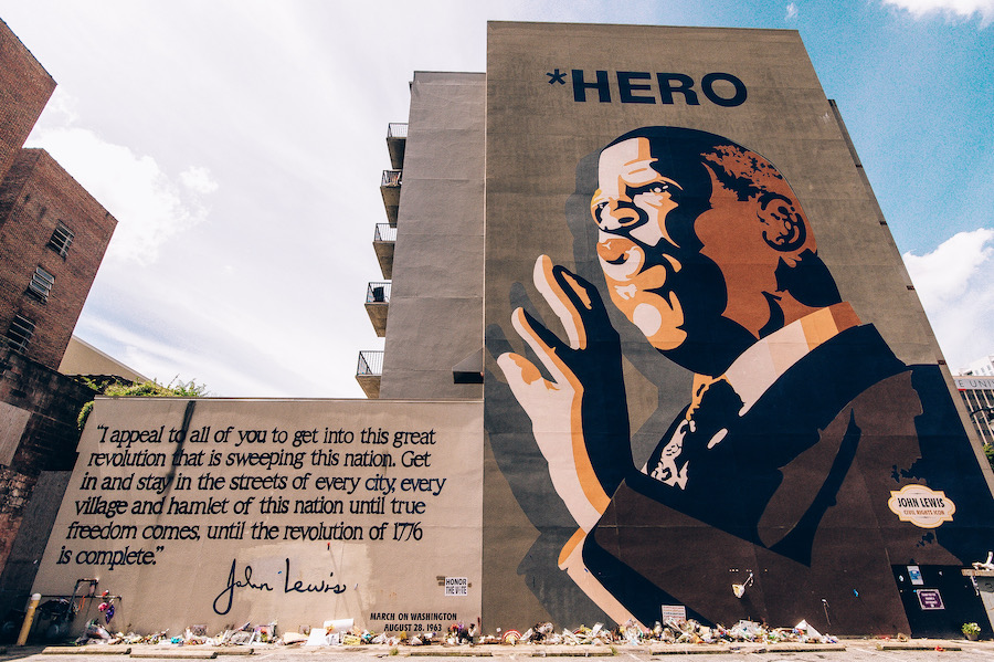 picture of John Lewis Hero Mural in Atlanta with a quote shot by photographer Fred Daniels for #blkcreatives and The Culture LP